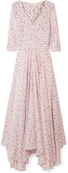 LoveShackFancy Larissa Floral-print Cotton And Silk-blend Maxi Dress - Pastel pink
