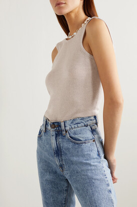 Magda Butrym Rockland Open-back Wool, Silk And Cashmere-blend Bodysuit - Gray