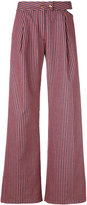 Cycle flared striped trousers - women - Cotton/Spandex/Elastane - 27