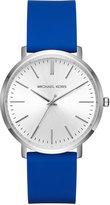 MICHAEL Michael Kors 41.5mm Jaryn Watch w/ Silicone Strap, Silvertone/Blue