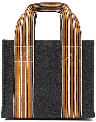Loro Piana The Suitcase Stripe Mini cashmere tote