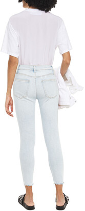 Current/Elliott The High Waist Stiletto Cropped Distressed High-rise Skinny Jeans