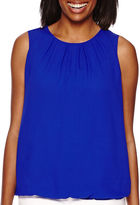Liz Claiborne Sleeveless Bubble-Hem Layered Top