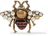 Gucci Gold-tone, Enamel, Swarovski Crystal And Faux Pearl Brooch
