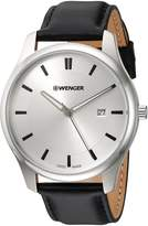 Wenger Men's 'City Classic' Swiss Quartz Stainless Steel and Leather Casual Watch, Color:Black (Model: 01.1441.102)