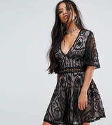 Sisters of the Tribe Sisters Of The Tribe Petite Tea Dress In Lace With Ladder Detail