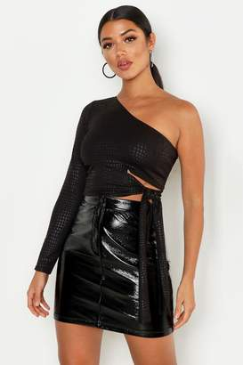 boohoo Croc Cut Out One Shoulder Top