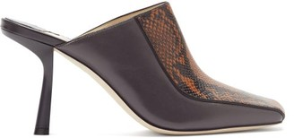 Jimmy Choo Marcel 85mm Snake-effect Leather Mules - Black Tan