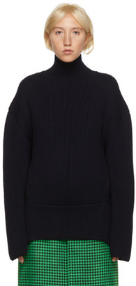 Balenciaga Navy Wool Turtleneck