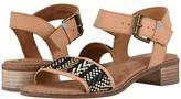 Toms Camilia (Honey Leather/Geometirc Woven) Women's Sandals