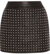 McQ by Alexander McQueen Studded Textured-Leather Mini Skirt