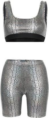 Beth Richards Kim snakeskin-print top and shorts set