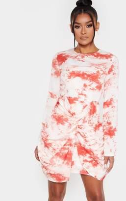 PrettyLittleThing Beige Tie Dye Twist Front Bodycon Dress