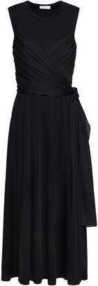 Sandro Trudy Stretch-knit And Voile Midi Dress