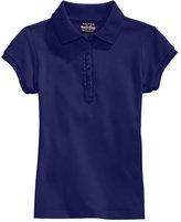 Nautica Plus Girls' Uniform Ruffle-Placket Polo