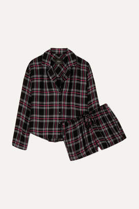 Rails Checked Flannel Pajama Set - Burgundy