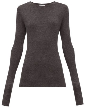 Raey Crew-neck Fine-rib Cashmere Sweater - Womens - Charcoal