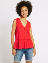 Marks and Spencer Pure Cotton V-Neck Sleeveless Shell Top