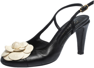Chanel Black/White Leather Camellia Embellished Slingback Sandals Size 38