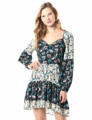 Elliatt Women's Apparel Women's Emilia Long Sleeve Babydoll Combo Print Short Dress