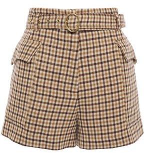 Nanushka Lucas Belted Gingham Wool Shorts