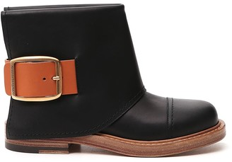 Alexander McQueen Buckle Detail Ankle Boots