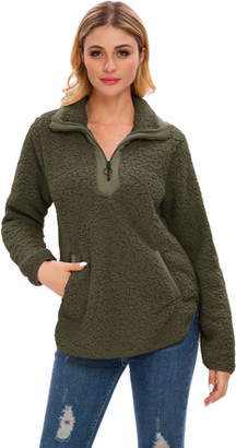 Lilly Posh Women's Long Sleeve Loose Sherpa Pullover Stand Collar with Pockets