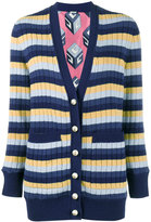 Gucci stripe ribbed cardigan - women - Silk/Wool - XS