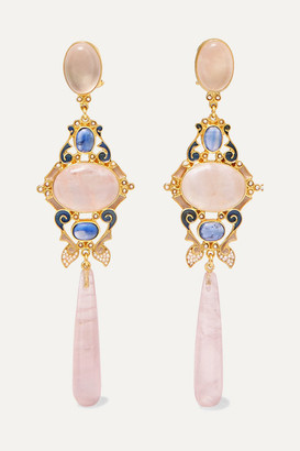 Papi Percossi Gold-plated And Enamel Multi-stone Earrings - Pink