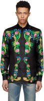 Versace Black Signature Print Silk Shirt
