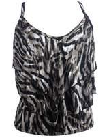 Qiaoer Women's Falbala swimwear Leopard Stripe Cover Up Spa Swimsuit Top