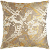 "Square Feathers D'Or Fancy Pillow, 26""Sq."