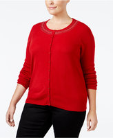 Karen Scott Plus Size Embellished Cardigan, Only at Macy's
