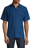 Toscano Solid Chambray Linen Sportshirt