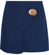 Opening Ceremony Embellished Wrap-effect Denim Mini Skirt - Bright blue