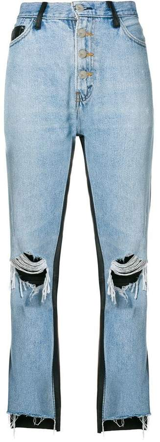 Amiri leather panelled cropped jeans