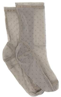 Darner Socks - Polka Dot Mesh Ankle Socks - Womens - Black Print