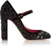 Dolce & Gabbana Embellished velvet Mary Jane pumps