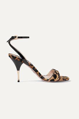 Prada 90 Leopard-print Calf Hair And Patent-leather Sandals - Leopard print