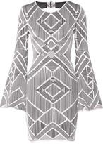 Herve Leger Skyler Cutout Stretch Jacquard-knit Mini Dress - Silver