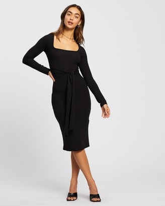 Missguided Women's Black Midi Dresses - Scoop Neck Self Tie LS Midi Dress - Size 6 at The Iconic