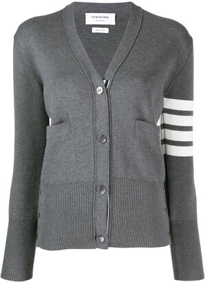 Thom Browne 4-Bar crepe V-neck cardigan