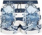 Dolce & Gabbana Majolica and striped-print swim shorts