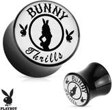 Playboy Bunny Thrills Exclusive Pattern Black Acrylic Saddle Plug (Sold as a Pair)