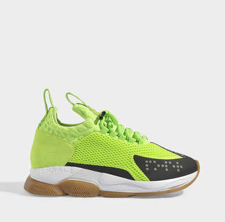 Versace Cross Chainer Trainers In Lime Nylon