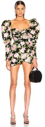 Alessandra Rich Rose Print Puff Sleeve Mini Dress in Black & Pink | FWRD