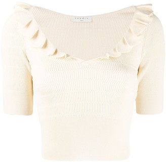 Sandro Paris Ruffle Trim Knitted Top