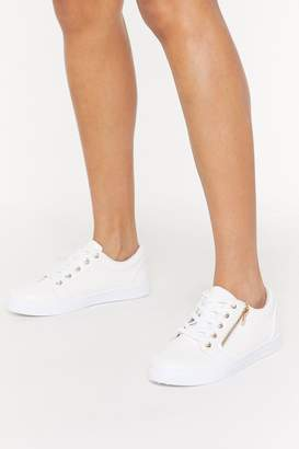 Nasty Gal Womens Side Zip Faux Snake Lace Up Trainers - White - 3, White