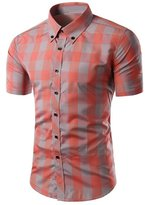 BSNQA Mens Casual Plaid Short Sleeve Button Down Dress Shirt (M, )