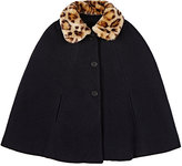 Bonpoint Leopard-Collar Cape-BLACK